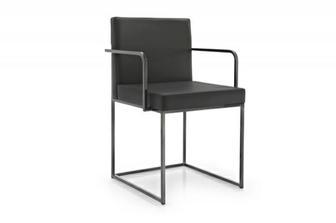 Even Plus μπράτσο καρέκλα Calligaris προσφορά σε γκρι δέρμα με μαύρο νίκελ πόδι 6/άδα
