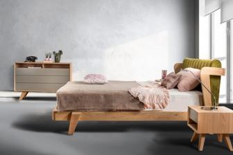 Hugo κρεβάτι ξύλινο με ύφασμα