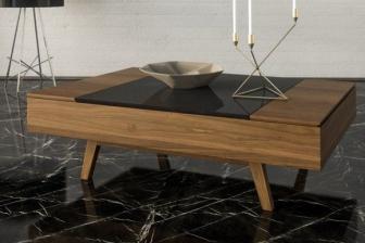 Superelite τραπεζάκι σαλονιού με ξύλινα πόδια και σερβιτόρο