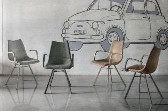 Μαγιορκα καρέκλα με μεταλλικό πόδι και μπράτσο