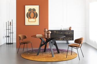 Jungle στρογγυλό τραπέζι με μάρμαρο Calligaris