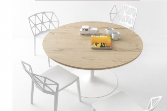 Planet Wood στρογγυλή τραπεζαρία Connubia by Calligaris