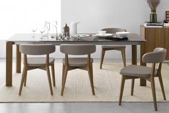 Eminence τραπέζι με ξύλο ή κρύσταλλο και ξύλινα/λακαριστά πόδια Connubia by Calligaris