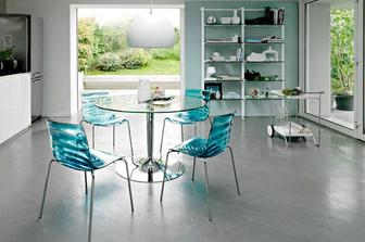 Planet Glass στρογγυλή τραπεζαρία Connubia by Calligaris