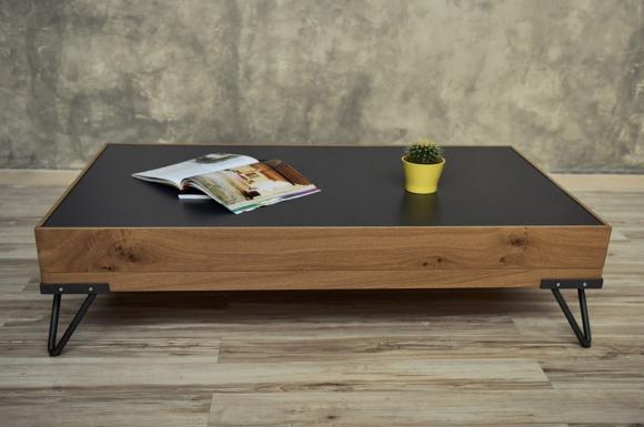 Display τραπεζάκι σαλονιού με συρτάρι και μεταλλικά πόδια