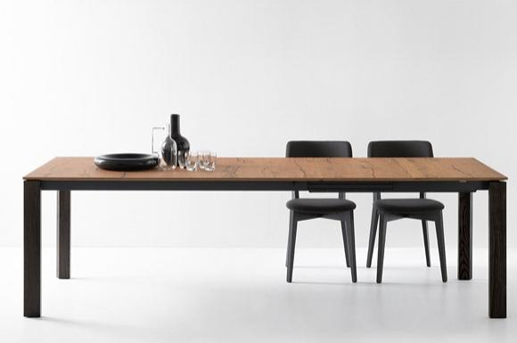 Eminence τραπέζι κουζίνας με πέτρα ξύλο ή κρύσταλλο με ξύλινα πόδια Connubia by Calligaris