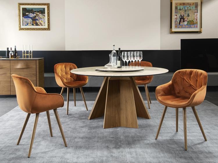 Icaro στρογγυλό τραπέζι με μάρμαρο Calligaris