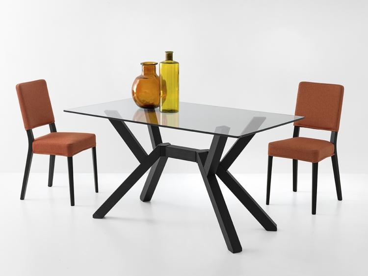 Mikado τραπέζι κουζίνας με κρύσταλλο και κεντρικό πόδι Connubia by Calligaris
