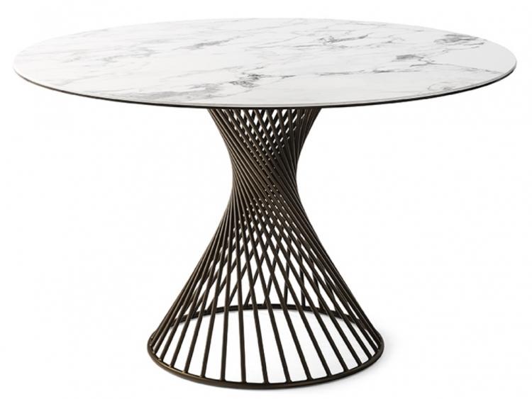 Vortex marble στρογγυλό τραπέζι με κεραμική επιφάνεια Calligaris