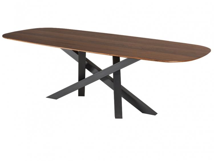 Voltagio οβάλ τραπέζι με ξύλινη  επιφάνεια