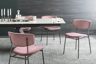 Fifties καρέκλα με βελούδο και μεταλλικά πόδια Calligaris