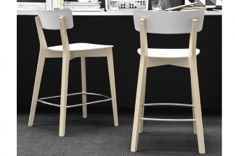 Jelly σκαμπό με ξύλινα πόδια Connubia by Calligaris