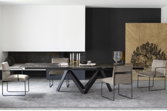 Cartesio παραλληλόγραμμο τραπέζι με πέτρα ή μάρμαρο RC Calligaris